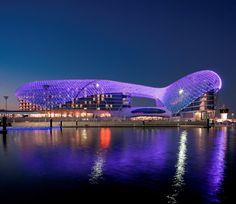 The YASY Island Marina Grand Prix circuit & Hotel, Abu Dhabi, United Arab Emirates Abu Dhabi, Grand Prix, Unique Hotels, Beautiful Hotels, Amazing Hotels, Hotels And Resorts, Best Hotels, Yas Hotel, Dubai Hotel