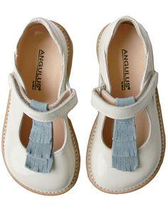 Angulus Verniz Beige-blue Dolly Shoes || Igloo Kids Clothing, this company ships worldwide.