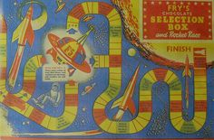 The space-age theme was everywhere...1957 FRYS CHOCOLATE CANDY BOX, 1950s OUTER SPACE ROCKET RACE GAME