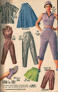 Aldens Spring and Summer catalog, 1954 vintage fashion style color photo print ad model magazine 50s blue brown lavender pedal pushers cigarette pants shirt skirt shoes shorts