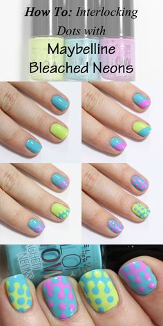 Maybelline Bleached Neons Interlocking Dots Nail Art Tutorial - 12 Easter-Inspired Nail Art Designs and Tutorials Diy Nails, Cute Nails, Pretty Nails, Nail Art Designs 2016, Cute Nail Designs, Dotting Tool Designs, Nails Decoradas, Argyle Nails, Dot Nail Art
