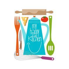 Art for Kitchen Art Print Retro Julia Child Happy Kitchen Quote Mid Century Modern Colorful Art Print Gift
