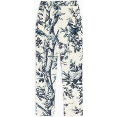 MAX&Co. Floral-print ottoman trousers ($175) ❤ liked on Polyvore featuring pants, navy blue pattern, high-waist trousers, high waisted pleated pants, pleated pants, patterned pants and floral pants
