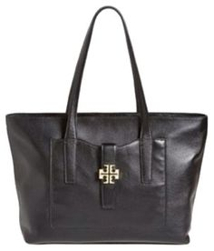 77f8841f6c7 Tory Burch Tote in Black Black Leather Bags, Luxury Handbags, Designer  Handbags, Gold