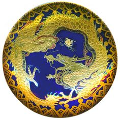 Button--Exquisite Very Large 19th C. Satsuma Pottery Golden Dragon on Cobalt