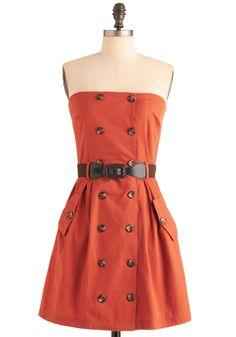 Belted button dress in harvest orange #fallfavorites