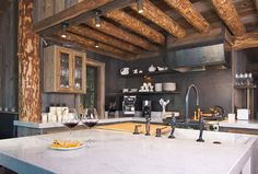 Modern country style kitchen in a log cabin! #homeandstyleliving