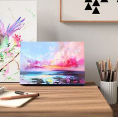 East Urban Home 'Arran Glow' Print Pink Abstract, Abstract Wall Art, White Console Table, Guest Room Decor, Arran, Wall Art For Sale, Succulent Pots, Colorful Garden, Learn To Paint