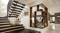 escalier moderne demi tournant tout en bois, escalier pour une maison design Interior Design Inspiration, Home Decor Inspiration, Zen, Escalier Design, Interior Concept, Modern Staircase, Residential Interior Design, Aluminium, Decorating Your Home