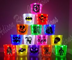 These are not a preorder, they ARE IN STOCK AND READY TO SHIP. :) Why order one on a pre-sale when you can get yours this week!  No need for a flashlight this year! Let this adorable bucket light your childs way. These buckets are cute, functional, and a great safety feature for a dark Halloween night. Item details: *Single Sided 1 Color/Regular Bucket- $15 (a design OR name). *Double Sided 1 Color/Regular Bucket- $17 (both sides of the buckets are decorated).  *Single Sided MULTI-Color…