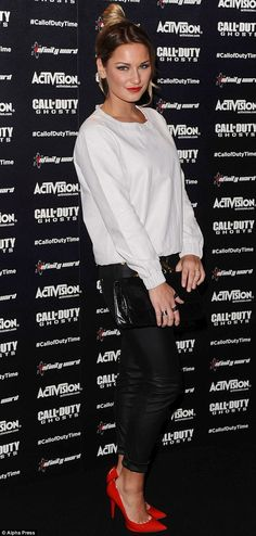 Monochrome loveliness: Sam Faiers arrives at the Call Of Duty: Ghosts launch event at the O2 London