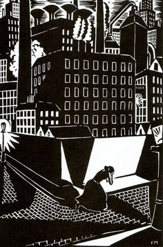 "Frans Masereel (31 July 1889 – 3 January 1972) Flemish painter and graphic artist - Scanned from woodcut novel ""The City"""