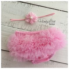 SET Headband and Bloomers - Pink Chiffon diaper cover, ruffle butt, flower head band bow baby girl newborn photo shoot prop, hospital outfit by HoneyLoveBoutique Baby Girl Tutu, Baby Bows, Baby Girl Newborn, Ruffle Diaper Covers, Skinny Headbands, Home Outfit, Little Princess, Baby Wearing, Pink Flowers