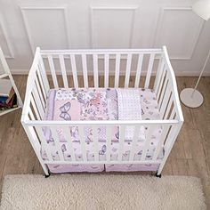 cool La Premura Pastel Purple Butterfly Baby Nursery Mini Portable Crib Bedding Set for Girls 3 Piece Crib Sets for Mini Crib Purple and Pink 0 0 Dimension: This bed set includes a 24 x 38 inch fitted mini crib sheet with 5 inch deep pockets for portable crib mattresses, a 30 x 38 inch quilted comforter, and a dust ruffle skirt that measures 24 x 38 inches with a 10 inch drop. Pastel Butterfly... Pink Crib Bedding, Comforter, Butterfly Baby, Purple Butterfly, Dust Ruffle, Ruffle Skirt, Purple Quilts, Portable Crib, Mini Crib