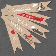 Burlap Thank you tag INSTANT DOWNLOAD wedding bike cardboard gift wrap printable wedding tags favor tags DIY