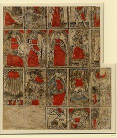 Italian Tarot Cards, the so-called Tarocchi, c. 1500, woodcut, wash in red, grey and brown ink