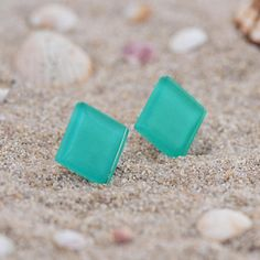 Items similar to Turquoise stud earrings, Teal modern jewelry for everyday, Beach wedding jewelry, Gift for Bridesmaids earrings, Turquoise glass earrings on Etsy Simple Earrings, Cute Earrings, Glass Earrings, Beautiful Earrings, Beach Wedding Jewelry, Summer Jewelry, Wedding Beach, Beach Jewelry, Etsy Jewelry