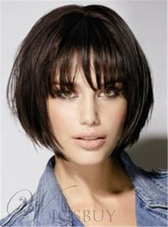 Heat-resistant Fiber Centre Parting Beautiful Straight Wig For Women Layered Bob Hairstyles, Short Bob Haircuts, Hairstyles With Bangs, Pretty Hairstyles, Hairstyle Short, Short Choppy Hair, Short Hair With Bangs, Short Hair Cuts, Short Hair Styles
