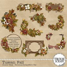 Tuscan Fall Digital Scrapbooking Clusters - Bring a little of the beauty of Tuscany in the fall with this beautiful new collection from Trixie Scraps! Featuring plenty of ornamental patterns, ornate scrollwork and flourishes, wrought iron touches and lots of fall flowers and foliage, this collection is perfect for everything from fall foliage photos, to family and geneology layouts, and even fall wedding layouts! This element cluster pack includes nine pre-shadowed frame/border/tag clusters.