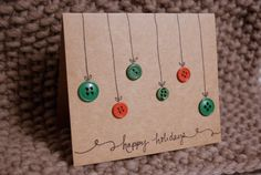Christmas card. button ornaments. happy holidays. by chramberries, $3.50