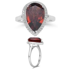 0.19 Cts Diamond & 5.02 Cts Garnet Ring in Silver