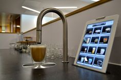 TopBrewer coffee machine in modern office environment #coffee #flatwhite #ipad #reception