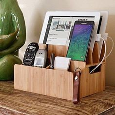 Bamboo Charging Station Organizer Extension Extra Storage Smartphones Devices5 Color - Brown, Tax - Tax Free, Shipping - Free Shipping, Item Condition - New, Returns - Accepted, Type - Charging Station Organizer, Stand Dimensions - 7.75 x 10 x 8.25 with 2.5 x 4.7, Material - Bamboo, Size - 5 inches across and 3.5 inches deep, EAN - 0814074016061, UPC - 814074016061