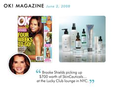 Brooke Shields likes SkinCeuticals. Product line available at Renewal Skin Care Studio