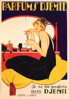 This is a high quality fine art giclee print of a vintage French purfume advertising art deco poster for 'Parfums Djemil' brand in Paris, France. It is printed on a thick, matte finish stock. It features a 1920's redheaded 'flapper girl' sitting at a vanity and spraying on some Djemil purfume, by Geo Cap.