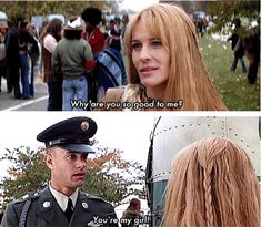 Jenny Curran: Why are you so good to me? Forrest Gump: You're my girl! Jenny Curran: [pause] I'll always be your girl. Forrest Gump directed by Robert Zemeckis (1994) #winstongroom