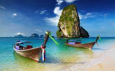 Lataa kuva Veneet, kesällä, loma, thaimaa, meri, matka