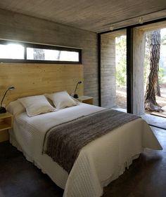 concrete minimalist home plan bedroom