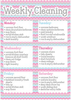Housekeeping Schedule: chores for each day of the week and daily ...