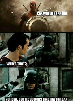 Deadpool Superman and Batman- only true Marvel and DC geeks will get this joke XD