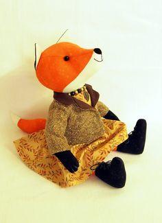 Orange Fox, plush toy, stuffed animal doll 10 inches (25cm) cotton. Tweed jacket, muslin dress and striped skirt.