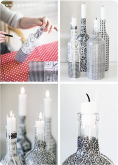 Upcycle glass bottles with decoupage paper // by Craft & Creativity Glass Bottle Crafts, Wine Bottle Art, Diy Bottle, Bottles And Jars, Glass Bottles, Painted Bottles, Liquor Bottles, Wine Craft, Altered Bottles