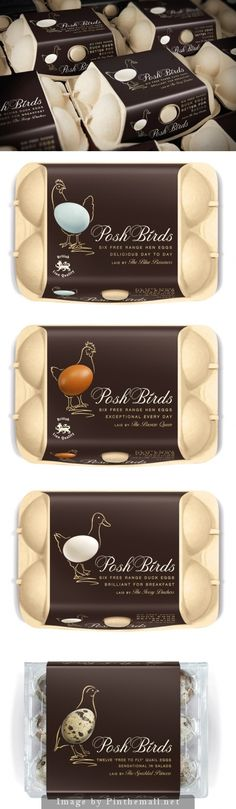 Posh birds just goes to show you that you can create something beautiful out of something as mundane as egg packaging curated by Packaging Diva PD created via www. Egg Packaging, Cool Packaging, Food Packaging Design, Packaging Design Inspiration, Brand Packaging, Food Design, Organic Recipes, Vegetable Shop, Egg Cartons
