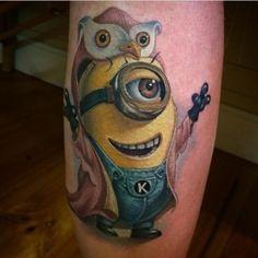 Owl Coat Minion Tattoo by Kegan Hawkins Body Art Tattoos, I Tattoo, Tatoos, Minion Tattoo, Minions, Famous Tattoo Artists, Comic Tattoo, Pin Up, Tattoo Spirit