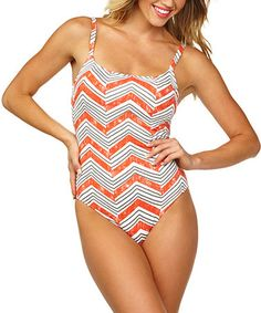 bc695781c9282 Another great find on  zulily! Sharp Coral Chevron Tank One-Piece by Leilani