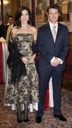Crown Princess Mary in the same Celine dress while visiting Budapest in 2010 with her husband Crown Prince Frederik.