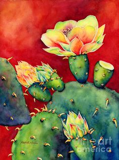 Contemporary cactus bloom painting by Hailey E. Herrera.