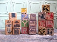 Wooden Toy Blocks, Mixed Lot of Child's Blocks, Alphabet Blocks, Picture Blocks, Vintage Supplies