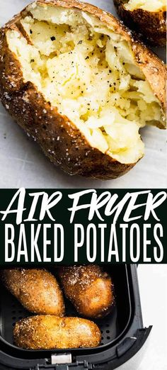 Learn how to make Air Fryer Baked Potatoes with crispy skins! They cook up easily in your air fryer with perfect, crispy & salty skins. // recipes // quick // easy // time // for one Quick Baked Potato, Baked Potato Bar, Air Fryer Baked Potato, Baked Potato Recipes, Cooking Baked Potatoes, How To Cook Potatoes, Air Fryer Dinner Recipes, Air Fryer Recipes Easy, Cooks Air Fryer