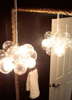quirky lamps...I have a whole trash bag full of plastic Christmas ornaments we could turn into fun lighting