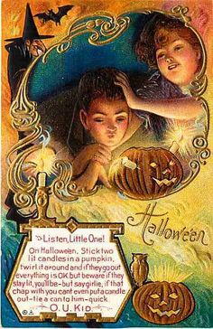 Halloween 1910 Jack o Lantern Test Romantic Couple O U Kid Vintage Postcard #Halloween