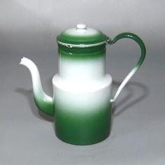 Vintage French Enamelware Green Enamel Coffee Pot