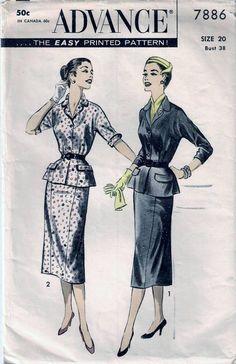 Vintage 50s 2-Pc Dress Suit Sew Pattern Advance 7886 PLUS SIZE 20 B38