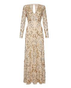 Embellished cream and gold long sleeve full length dress.