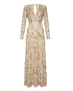 Embellished cream and gold long sleeve full length dress.