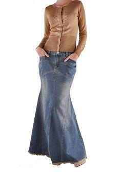 Style J Vintage Vogue Long Denim Skirt-Blue-Check back for my size Vintage Vogue, Vintage Denim, Modest Fashion, Fashion Outfits, Women's Fashion, Maxi Skirt Winter, White Denim Skirt, Denim Skirts, Cute Skirts